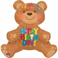 Happy Birthday Teddy Bear Sitting Foil Party Balloon AIRFILL NO HELIUM