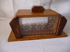 ancienne BOITE à GATEAUX  Année 50- en bois et verrerie gravée- très bon état