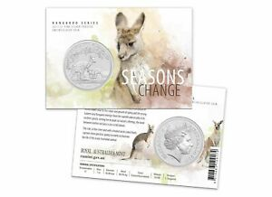 2017 $1 Seasons Change Kangaroo 1oz Fine Silver Frosted UNC Coin on Card