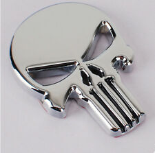 6*4.5cm Universal Silver The Punisher Skull Car 3D Metal Emblem Badge Sticker