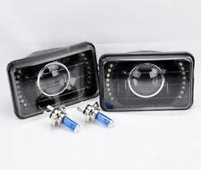 "4x6"" H4 Black Glass LED DRL Projector Glass Headlights Conversion Bulbs Oldsmob"