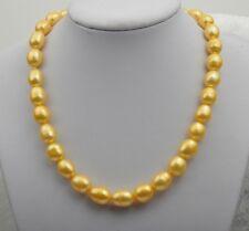 "18"" 10-11mm south sea gold color oval pearl necklace 14k clasp"