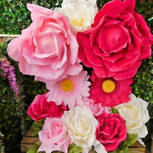 Giant Display Artificial Flower Heads Large White Pink Rose Gerbera Peony