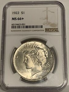 1922 Peace Dollar Silver Dollar NGC MS66+. Flashy White. Immaculate.MS67 =$7000!