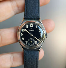 Vintage Omega Steel Watch Military 1937-1938 Black Dial