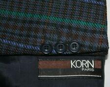KORN PARIS Made in France 52 / 42 Purple Green Red Plaid Sport Coat Wool