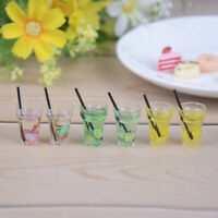 2Pcs 1:12 Doll house miniature fruit tea with straw drink beverage toy decorBBfw