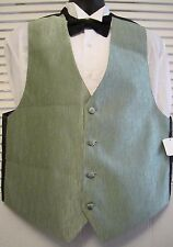 Mens M Formal Classic Tuxedo Vest Sage Green Full Back Made in USA