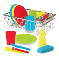 Dishes Play Set Wash Dry Rack Soap Bottle Sponge Kids Toddler Toy Gift NEW