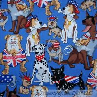 BonEful Fabric FQ Cotton Quilt Blue Red White USA UK Flag DOG Breed Dot Military