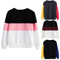 Women's Long Sleeve Plain Hoodie Pullover Sweatshirt Ladies Jumper T-Shirt Tops