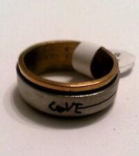 Modeschmuck Ring Edelstahl Farbe bicolor Dicke 7mm Aussendrehring Gr 17-20 #151