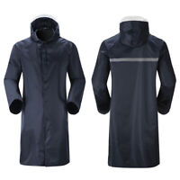 Raincoat Waterproof Men Lightweight Hooded Loose Fit Jacket Long Rain Coat Cover