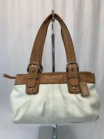 Coach Brown Cream Leather F13732 Handbag