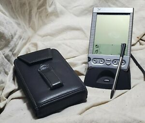 90s Visor Palm Pilot Personal Organizer w/Stylus Docking Station Case Tested