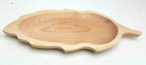"Wooden plate leaf shaped 13,5"" long medieval serving plate  beech wood"