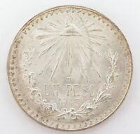 .GOOD HIGH GRADE 1943 MEXICO MEXICAN UN PESO SILVER COIN.