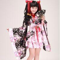 Japanese Kimono Lolita Costume Cherry Sakura Anime Dress for Halloween Cosplay