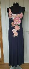 Lipsy blue maxi dress size 8/10 racer twist back floral pink long holiday d6