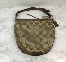 Coach Signature Logo Bag Gold Purse Medium Size Shoulder HandBag Hobo Tote L1