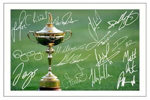 EUROPE 2016 RYDER CUP TEAM SIGNED AUTOGRAPH PHOTO PRINT GOLF