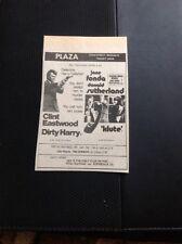67-3 Ephemera 1974 Plaza Margate Advert Clint Eastwood Dirty Harry Klute Fonda