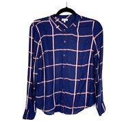 Splendid Womens Plaid Button Front Top Shirt Blue Size S