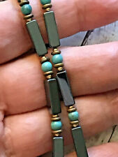 "Turquoise Necklace 18"" Unisex Vintage 14K Gold Filled Hematite"