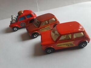 Vintage Matchbox Racing Mini x2 (colour variations) & Mini Ha Ha. Ex condition.
