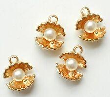 8pcs-Gold tone 3D  Sea shell charm w/ white faux Pearl