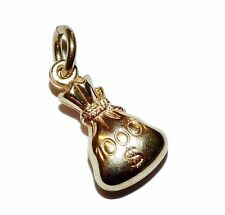 """9ct Yellow Gold Traditional Hollow """"SWAG BAG""""  Charm"""