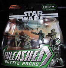 2005  STAR WARS. UNLEASHED BATTLE PACKS. CLONE COMMANDER  & 3 CLONE TROOPERS