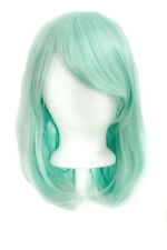 """15"""" Shoulder Length Straight Cut with Long Bangs Mint Green Cosplay Wig NEW"""