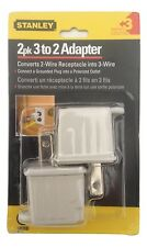 Stanley 30391 3-Prong to 2-Prong Outlet Adapter, Beige, 2-Pack