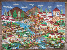 Peruvian Wall Hanging 'San Jose De Quero' Handmade Cotton Folk Wall Art Applique