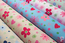 FLOWERS, DAISIES & HEARTS - PRINTED POLYCOTTON FABRIC - WIDTH 112 CM