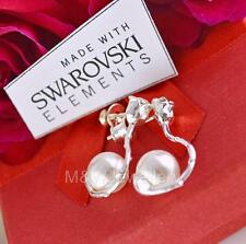 925 Sterling Silver Stud ROSE Earrings PEARL White 8mm Crystals From Swarovski®
