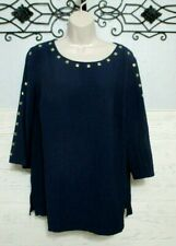 JM Collection Top Size M  Blue 3/4 Sleeved Round Neck Shirt Blouse