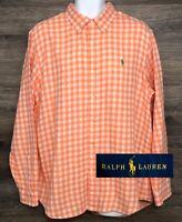 Ralph Lauren Men's Cotton Orange Plaid Flannel Long Sleeve Button Down Shirt XL
