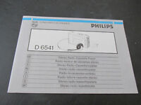 Instruction Booklet of The Reader Cassette Sterio Portable Philips D 6541