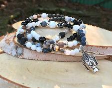 Mala Kette 108 Perlen Lotus Buddha Jade Achat