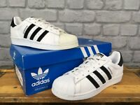 ADIDAS LADIES UK 5 EU 38 WHITE LEATHER BLACK VELVET SUPERSTAR TRAINERS