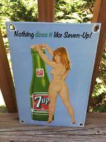 """Vintage 7 Up Heavy Porcelain Soda Cola Sign 12"""" X 8"""""""