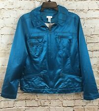 Chicos Jacket womens 2 tempo teal casual sheen zip front Kori NEW large R8