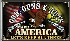 GOD, GUNS & GUTS MADE AMERICA LET'S KEEP ALL THREE! 3x5 Ft Flag USA Man Cave 2nd