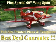 """Pitts Special 60"""" WS Giant Scale RC Airplane Full Size Printed Plans &Templates"""