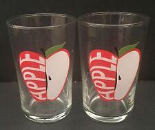 Retro Apple Juice Glasses Sliced Fruit Pictures Breakfast Drinkware Red White