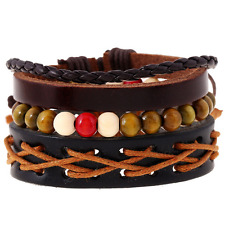 Punk Men's Multilayer Leather Hemp Rope Wood Bead Bangle Bracelet Wristband Set