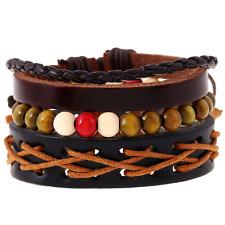 Bangle Cuff Bracelet Wristband Adjustable Unisex Leather Wrap Multilayers Beads