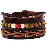 Women Men Multilayer Leather Handmade Hemp Rope Wood Bead Bracelet Wristband
